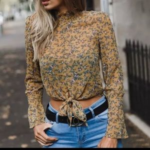 Floral shirt with tie front